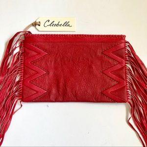 Cleobella Red Fringe Clutch